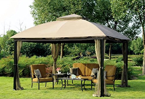 Sunjoy 10 x 12 Malibu Patio Gazebo with Mosquito Netting