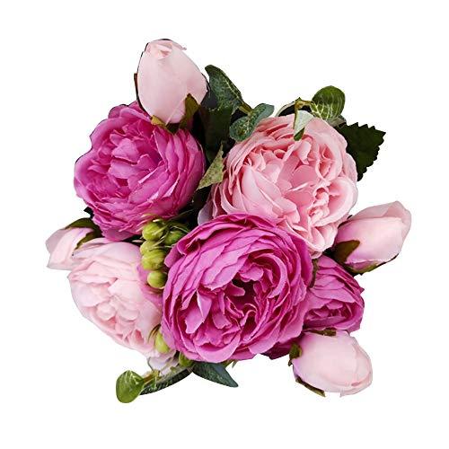 xMxDESiZ - 1 flor artificial para decoración de hogar o boda, fiesta, bricolaje Rosa rosa.