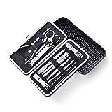 zaza Profesional del Clavo de Acero Inoxidable Clipper Set Herramientas de uñas de manicura y pedicura de 13pcs, Kit de Aseo Personal con el Caso Set de manicura y pedicura (Color : Black)