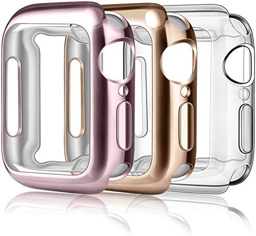 Wanme Funda Compatible con Apple Watch 42mm Series 3 2 1, Protector Pantalla Case Suave TPU Completa Anti-Rasguños para iWatch Series 3 2 1 (Transparente+Oro Rosa+Rosa)