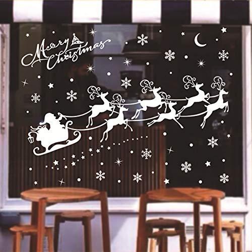 ShiyiUP Weihnachten Fensterkleber Wandsticker Fensterbild Aufkleber Wandtattoo Dekoration 6 Blatt,Hirsch