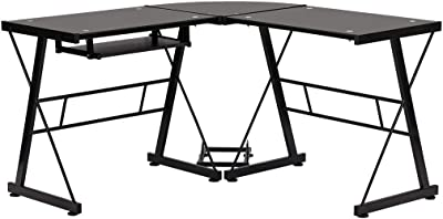 Amazon Com Flash Furniture Glass L Shape Desk With Pull