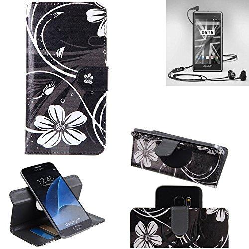 K-S-Trade® Schutzhülle Für Marshall London Hülle 360° Wallet Case Schutz Hülle ''Flowers'' Smartphone Flip Cover Flipstyle Tasche Handyhülle Schwarz-weiß 1x
