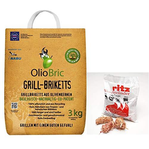 OlioBric 3kg Gourmet-Grill-Briketts | Oliventrester Grillkohle | nachhaltig | kein Rauch + 13 Ritz Bio Holzwolle Anzünder
