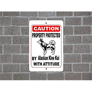 "Fhdang Decor Property Protected by Alaskan Klee Kai Warning Yard Fence Guard Dog Breed Metal Aluminum Sign,Metal Sign 8"" X 12"" 18"