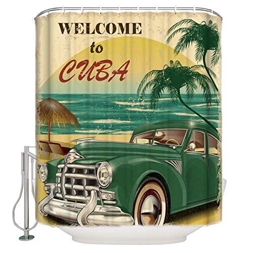EdCott Bienvenido a habitación patrón Coches Antiguos cubanos habitación sin Olor Cortina Ducha fácil Limpiar para baño baño Cortina Hotel baño Cortina bañera Impermeable