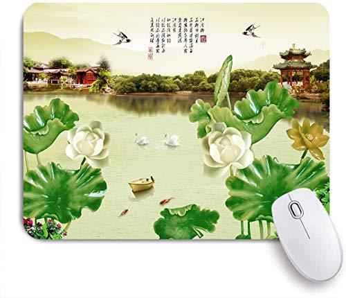 SUHOM Gaming Mouse Pad Rutschfeste Gummibasis,Chinesischer Garten Green Plant Leaf See Boot Vogel Gebäude Schwan Schwalbe Goldfisch,für Computer Laptop Office Desk,240 x...