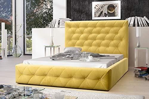 MG Home Möbel Bett Polsterbett Schlafzimmer Doppelbett Roma Gelb (Amore Gelb, 200 x 200 cm)