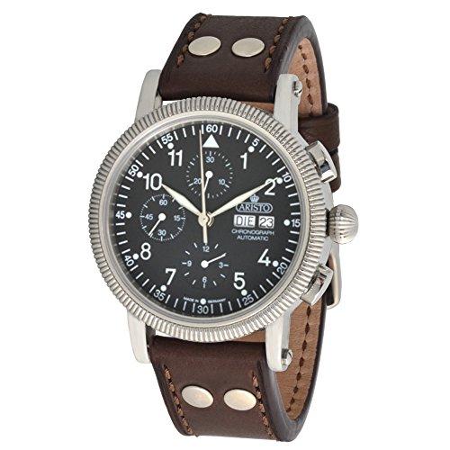 ARISTO 4H86 ETA Valjoux7750 - Orologio da polso da uomo, con cronografo automatico, cinturino in pelle marrone