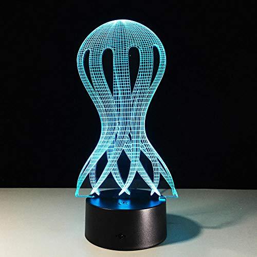 Wangzhongjie Lámpara De Mesa Para Dormir Con Luz Visual Led 3D Creativa, Lámpara De Mesa Para Dormir Con Pulpo Para Decoración Del Hogar, Regalo De Navidad