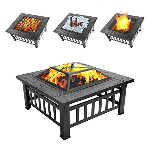 Knowlife 31.2 Inches Fire Pit Outdoor Metal Firepit Backyard Patio Garden Wood Burning Fire Pit, Solo Stove Bonfire