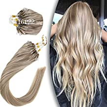 [2 Packs 10% Off] VeSunny Micro Link Hair Extensions Human Hair Micro Ring,18inch Micro Ring Hair Extensions Human Hair Color #16/22 Golden Blonde Highlight Light Blonde 50G/Pack