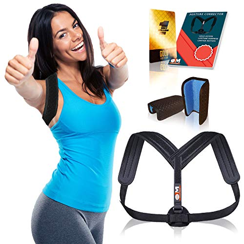 Posture Corrector for Men and Women, Upper Back Brace for Clavicle Support, Adjustable Back Straightener and Providing Pain Relief from Neck, Back & Shoulder