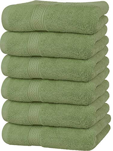 Utopia Towels - Premium Sage Green Hand Towels - 100% Combed Ring Spun Cotton, Ultra Soft and Highly Absorbent, 600 GSM Extra Large Hand Towels 16 x 28 inches, Hotel & Spa Quality Hand Towels (6-Pack)