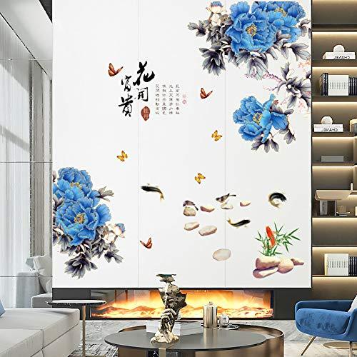 DIY Murales adhesivos y pegatinas de pared Póster,Nuevo estilo chino flor de peonía azul que florece rico estudio moderno sala de estar entrada TV fondo decorativo etiqueta de la pared 130x90cm