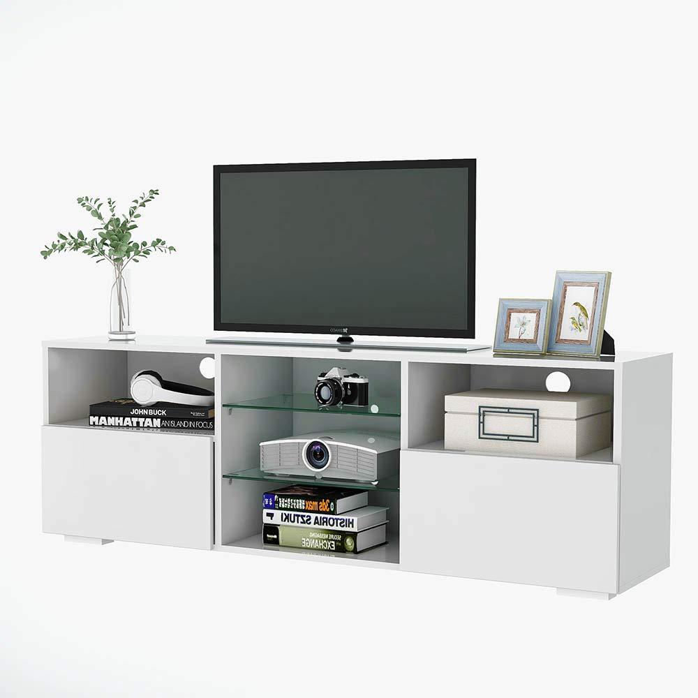 Mueble de TV Televisor RGB Luces LED 16 Colores Moderno Brillante Mesa de Madera Soporte de TV 130 cm 2 Estantes Cajones de Crsital Templado para Salon Sala de Estar [EU Stock]: