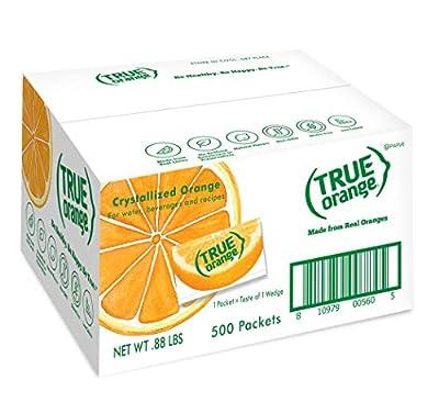 TRUE ORANGE Water Enhancer, Bulk Pack (500 Packets)   Zero Calorie Water Flavoring   For Water, Bottled Water, Iced Tea & Recipes   Water Flavor Packets Made with Real Oranges from Grand Brands dba True Citrus