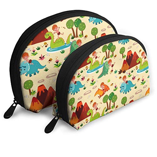 Fun with Dinosaurs Creme Pouch Zipper Toiletry Organizer Travel Makeup Clutch Bag Portable Bags Clutch Pouch Storage Bags
