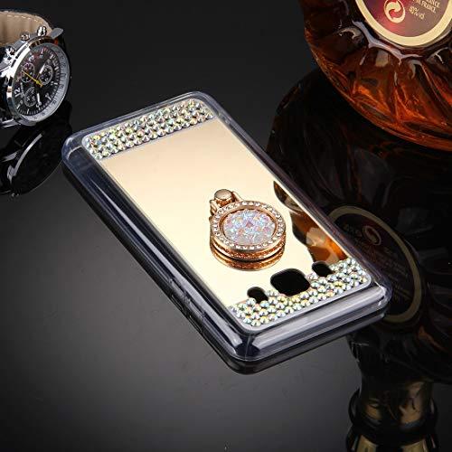 YANTAIAN For Samsung Galaxy J5 (2016) / J510 Diamante Incrustaciones de galvanoplastia Cubierta Protectora con Soporte de Anillo Oculto (Color : Gold)