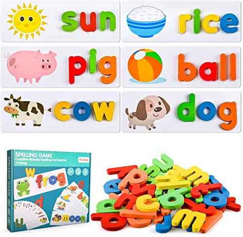 MentorKids Spelling Games Words Matching Letter Puzzles Games Toys for Boys Girls Toddlers Educational Preschool Toys Learning Toys for 2-4 Year Old Girls Boys