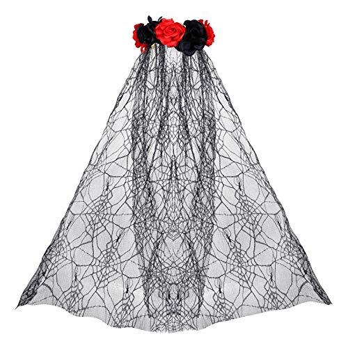 LIHAO Diadema con Rosa y Velo Halloween Banda Pelo Da de los Muertos Festivales Decoracin (Rojo y Negro)