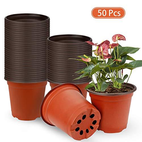 Vockvic 50 Pflanztöpfe, Runde Kunststoffe Blumentöpfe Multifunktional Praktisch Pflanzcontainer Mini Anzuchttöpfe, Langlebig und wiederverwendbar, Perfekt für Drinnen draußen Samen