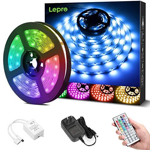 Lepro LEDテープライト RGB ledテープライト 5m 屋内用 明るさ調節 鮮やか 20色タイプ 44キーリモコン 調光調色 カラーDIY SMD5050 超高輝度 間接照明 両面テープ 切断可能 取付簡単 店舗 看板 ゲーム室 ホーム 装飾 非防水 テープライト