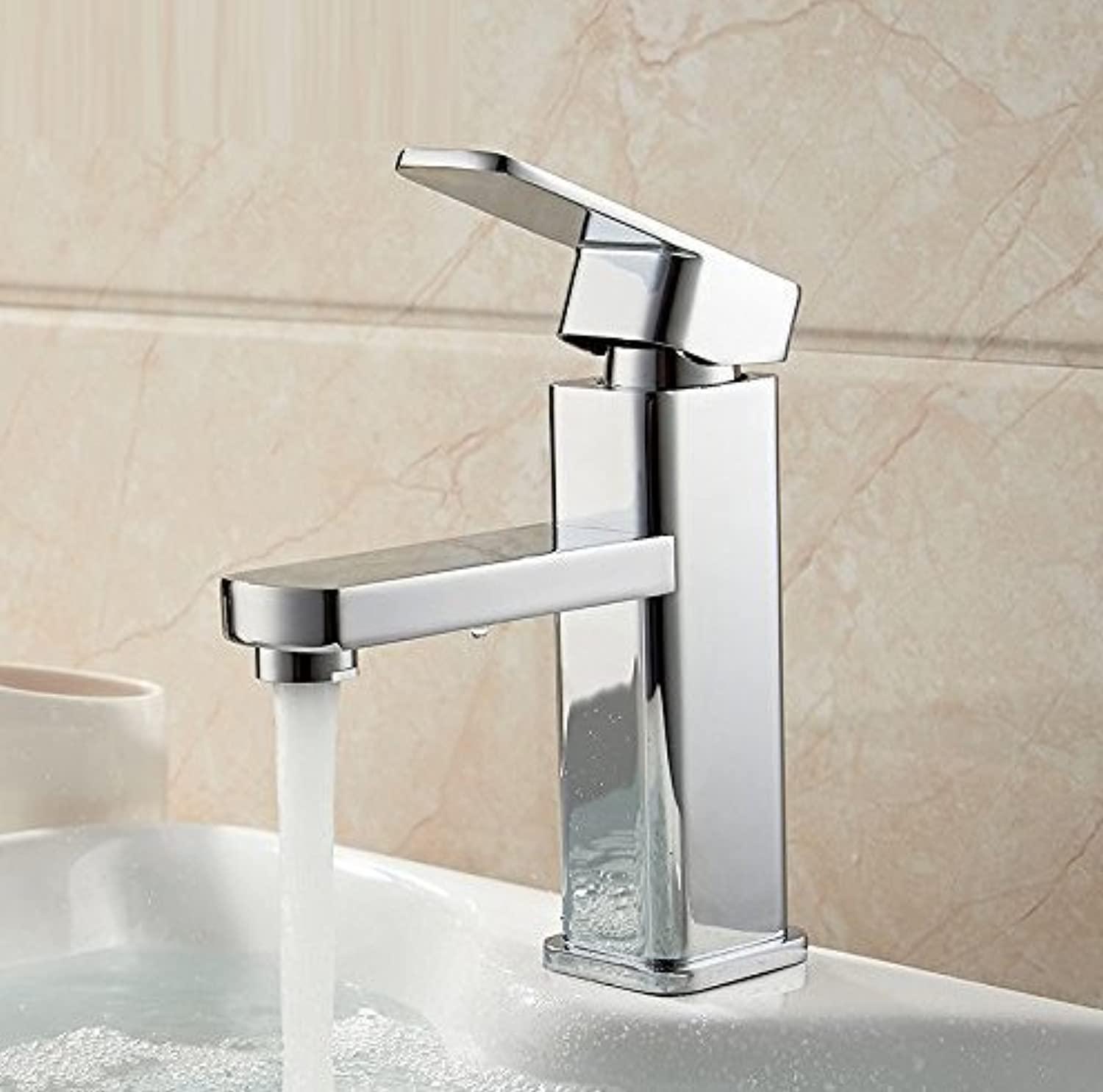 Basin Faucet Tap Mixer Finish Brass Square Pillar Designer Water Chrome Modern Waterfall Faucets