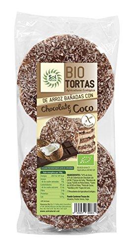 SOLNATURAL Tortas de Arroz Bañadas con Chocolate y Coco, sin Gluten - Paquete de 12 x 100 gr - Total: 1200 gr (267470)