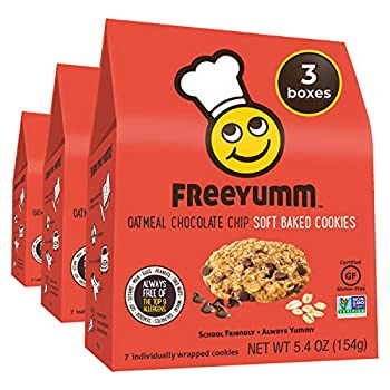 FreeYumm - Oatmeal Chocolate Chip Soft Baked Cookies – 21 Individually Wrapped Cookies - Allergen Free - Gluten Free - School Friendly
