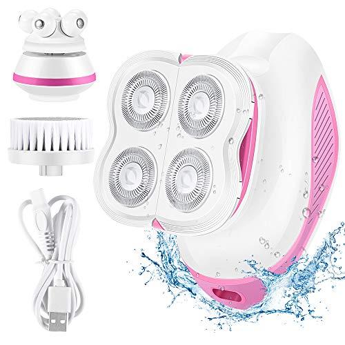 3 in 1 Elektrischer Rasierer Damen, System massagegerät Gesicht, Gesichtsbürste Reinigung für Bein Gesicht Körper Lippen Arm Achseln USB wiederaufladbar Akku wasserdicht