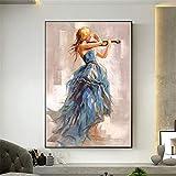 DIY 5D Pintura Diamante Kit Taladro Completo Chica violín Cristal Rhinestone Diamond Painting Full Drill Adultos Kids Bordado Punto de Cruz Imágenes Craft para el Hogar Pared Decoración 45x60cm M3645