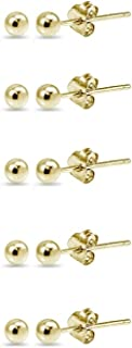 14K Gold 3mm Polished Tiny Ball Bead Unisex Stud Earrings Set of 2 Pairs