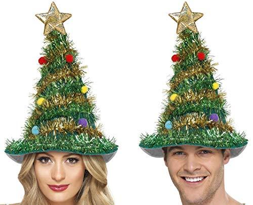 Party-Teufel® 4 Stück Weihnachtsbaum Tannenbaum Hut Weihnachtsmütze mit Girlande Kugel und Stern für Weihnachten und Weihnachtsfeier