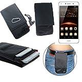 K-S-Trade® Gürtel Tasche Holster Für Huawei Y5 II Dual-SIM Brusttasche Brustbeutel Schutz Hülle Smartphone Hülle Handy Schwarz Travel Bag Travel-Hülle Vertikal