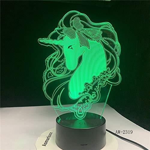 jiushixw 3D acryl nachtlampje met afstandsbediening van kleur veranderende tafellamp tafelkleed plaid