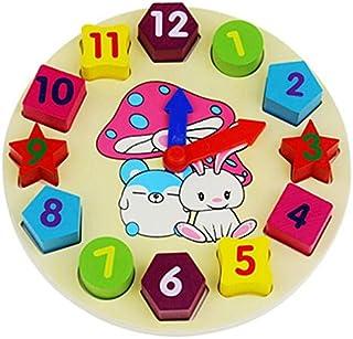 EDFOOD-AEKayu Blok Mainan Digital Geometri Jam Mainan Figure Blok Anak-Anak Montessori Mainan Pendidikan Untuk Anak Bayi A...