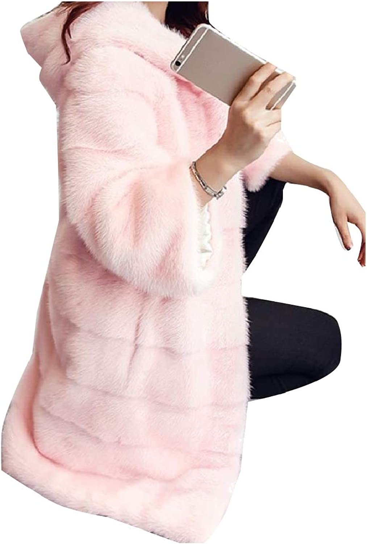 Cobama Women's Wedding Classy Hairy Hooded Shaggy Coat Jacket Outwear