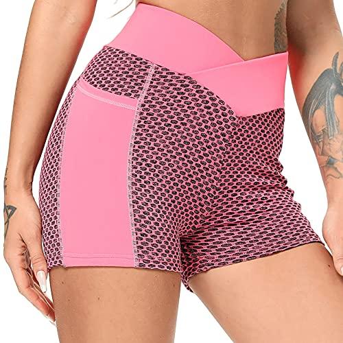 FITTOO Pantalones Cortos Super Elásticos Leggings Mujer Mallas Yoga Alta Cintura Transpirables Rosa XL