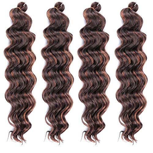 LEEONS Ocean Wave Crochet Hair 20 Inch (4-Pack, P4-30) Wavy Ombre Deep Twist Braiding hair