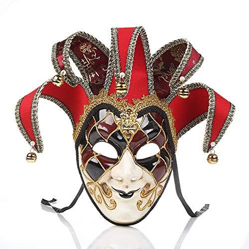 YCWY Máscaras de Venecia, máscara Facial Completa, máscara de Carnaval, Fiesta Veneciana Hecha a Mano, Disfraz de Carnaval, máscara de Disfraces, máscara de Bromista,Red
