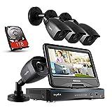 SANNCE Kit de Seguridad con Monitor de 10.1 Pulgadas 4 cámaras de vigilancia(H.264 Onvif 4CH CCTV P2P DVR con Monitor 4 cámaras 720P Visión Nocturna IR-Cut IP66)-1TB Disco Duro de vigilancia