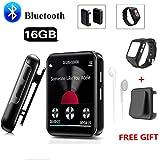 CCHKFEI Reproductor de MP3 Bluetooth de 16GB Pantalla táctil de 1,5 Pulgadas Reproductor de música Clip portátil con Bluetooth, Radio FM, grabadora de Voz