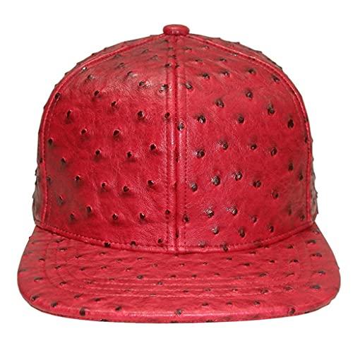Hip Hop Ostrich Faux Leather Snapback Baseball Cap Flat Brim Hat Unisex (Red)