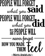 Newclew People Will Forget What You Said, People Will Forget What You did, but People Will Never Forget How You mde Them Feel - Maya Angelou Vinyl Wall Decal Sticker, Words Decor