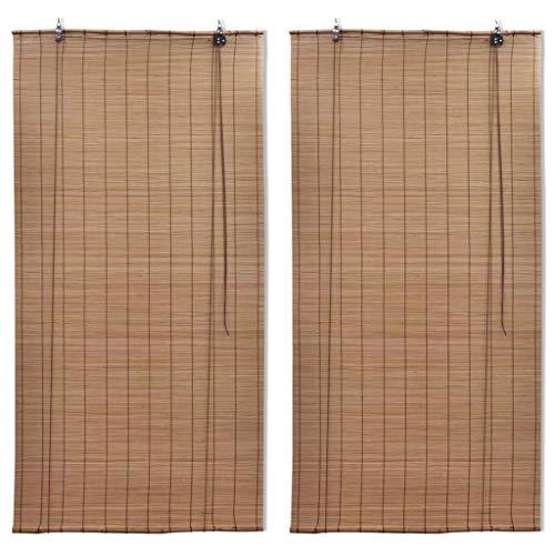 UnfadeMemory Persiana Enrollable de Bambú,Persiana Veneciana,Cortina Enrollable,Protección de Privacidad,Decoración de Habitación (120x220cm,2uds, Marrón)