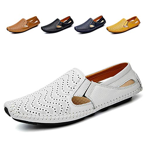 Noblespirit Men's Driving Shoes Leather Fashion Slipper Casual Slip on Loafers Shoes in Summer Mens Mules Shoes Breathable Diameter-zinroy Slip-on Loafers White NSLFS8503-Wh46