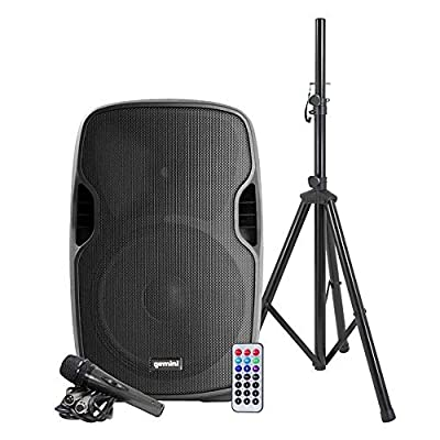 """Gemini as Series AS-15BLU-PK Bluetooth Portable Party Speakers Bundle, 15"""" 2000W Active PA Loudspeaker, Heavy Duty Speaker Stand, Remote, Microphone from Innovative Concepts and Designs"""