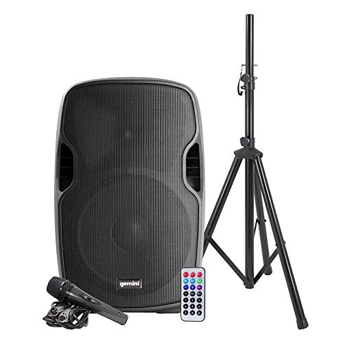 "Gemini as Series AS-15BLU-PK Bluetooth Portable Party Speakers Bundle, 15"" 2000W Active PA Loudspeaker, Heavy Duty Speaker Stand, Remote, Microphone"