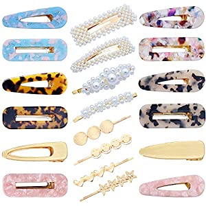 Beauty Shopping 20 PCS Pearls Hair Clips Acrylic Resin Hair Barrettes Hollow Geometric Hair Clip